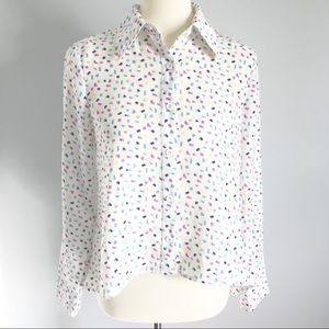 F21 High Low Open Back Confetti 80's Button Up